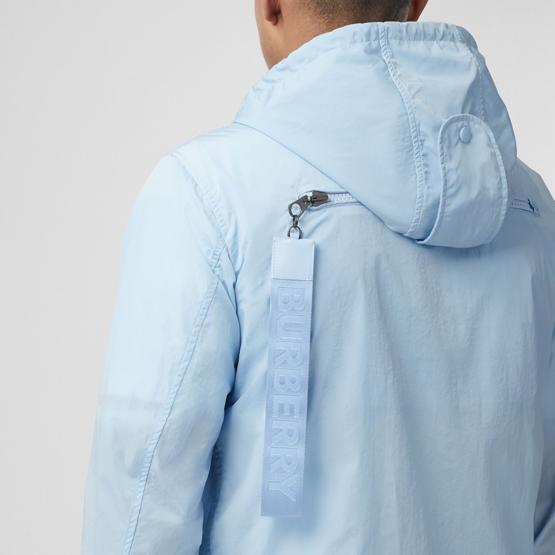 Packaway Lightweight Hooded Jacket in Pale Blue - Men | Burberry - gallery image 4