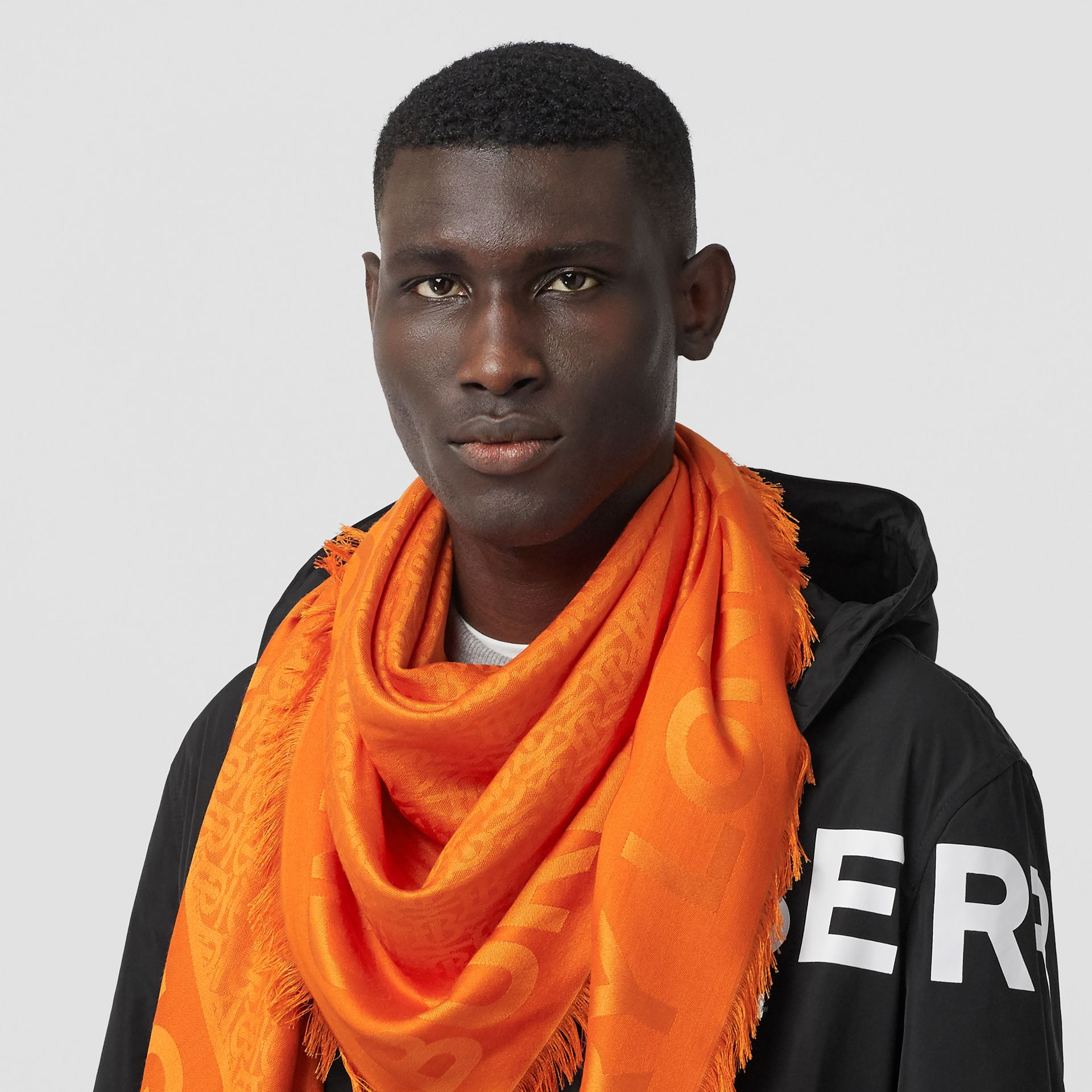 Monogram Silk Wool Jacquard Large Square Scarf in Orange | Burberry - gallery image 3