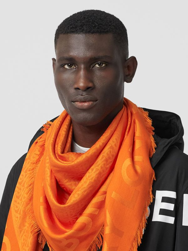 Monogram Silk Wool Jacquard Large Square Scarf in Orange | Burberry - cell image 3