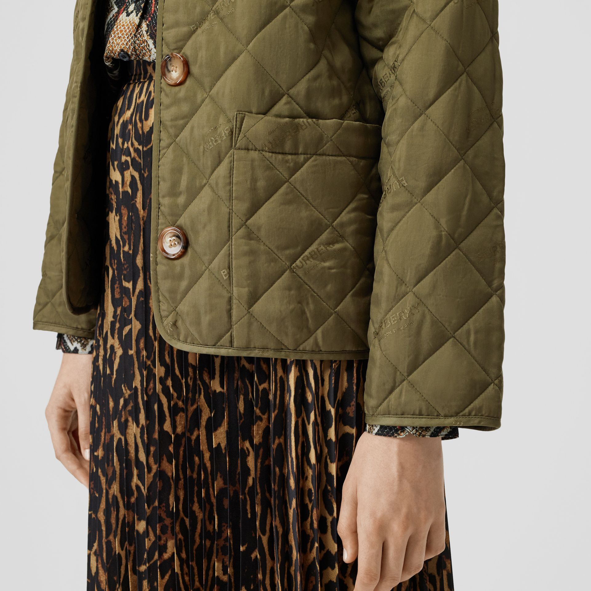 Logo Jacquard Diamond Quilted Jacket in Olive - Women | Burberry - gallery image 4