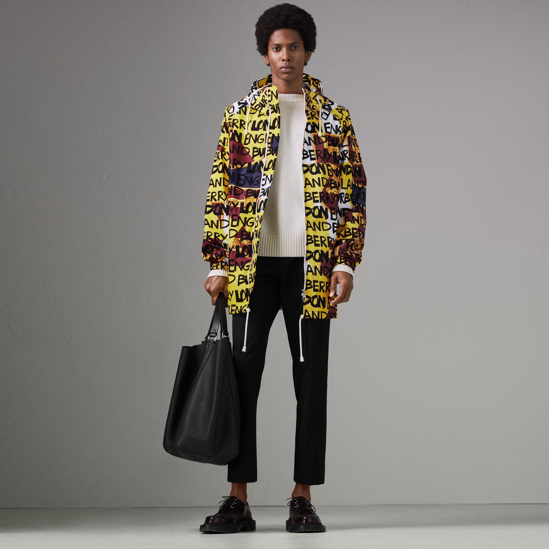 Graffiti Archive Scarf Print Hooded Jacket in Bright Yellow - Men | Burberry - gallery image 0
