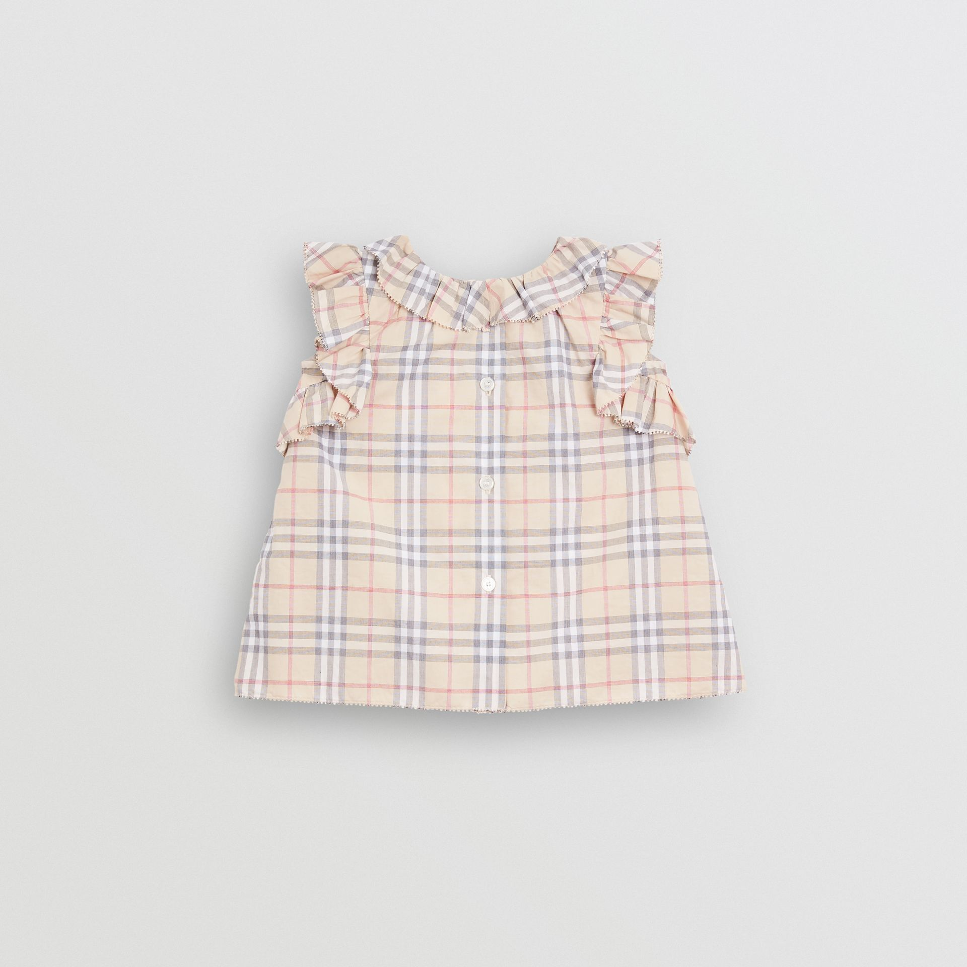 Ruffle Detail Check Cotton Dress with Bloomers in Pale Stone - Children | Burberry Australia - gallery image 3