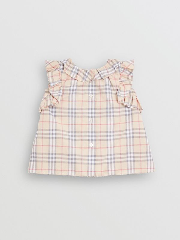 Ruffle Detail Check Cotton Dress with Bloomers in Pale Stone - Children | Burberry - cell image 3