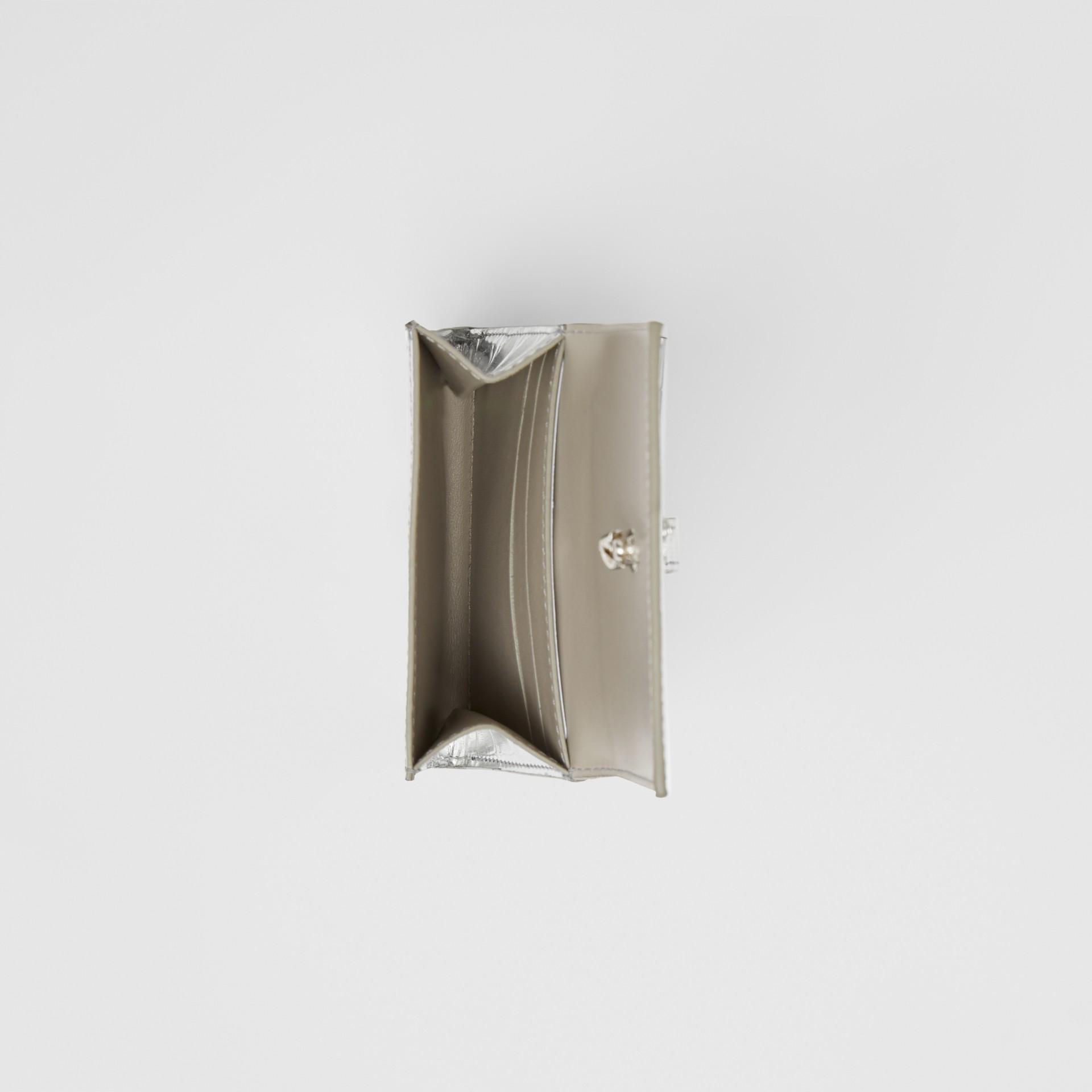 Metallic Embossed Folding Wallet in Silver - Women   Burberry - gallery image 3