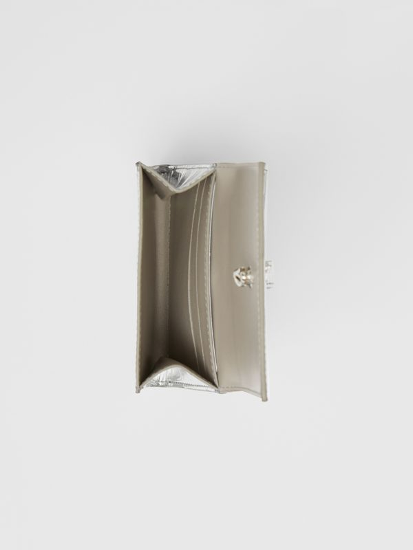 Metallic Embossed Folding Wallet in Silver - Women | Burberry United Kingdom - cell image 3