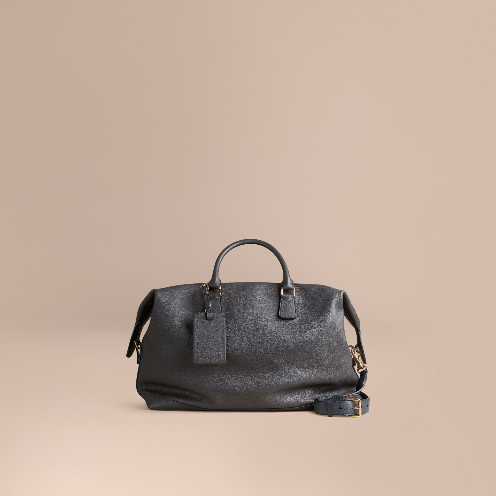 Charcoal Grainy Leather Holdall Charcoal - gallery image 7