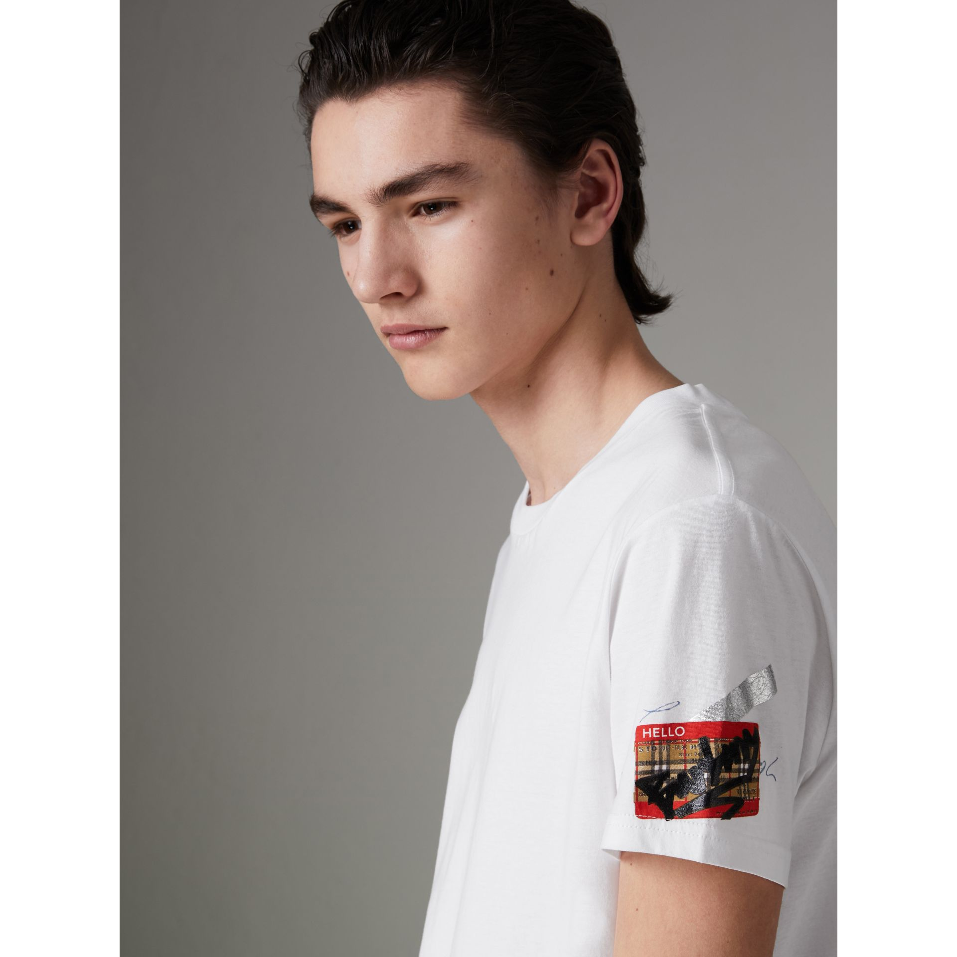 Graffitied Ticket Print T-shirt in White - Men | Burberry United Kingdom - gallery image 0
