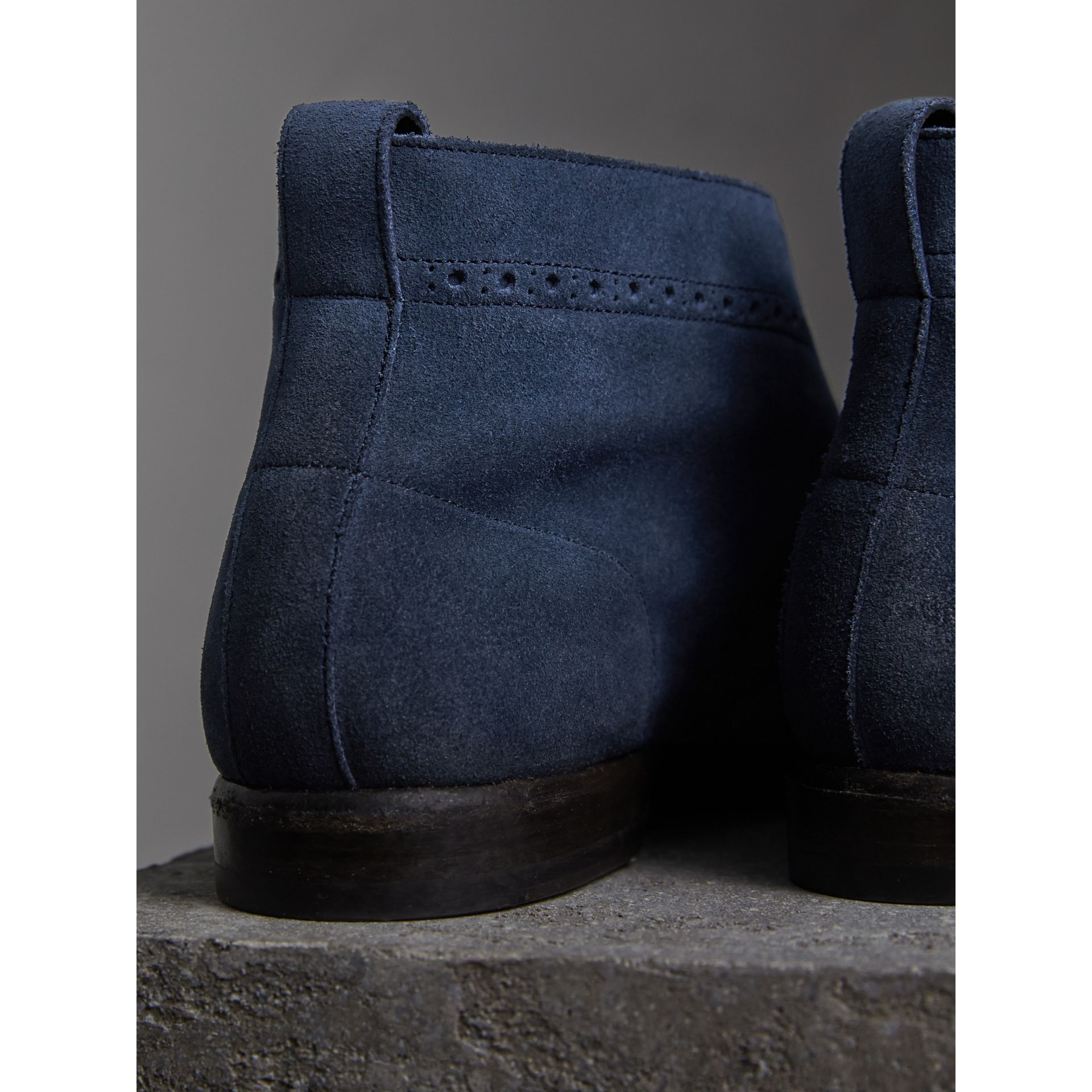 Brogue Detail Suede Desert Boots in Petrol Blue - Men | Burberry Singapore - gallery image 3