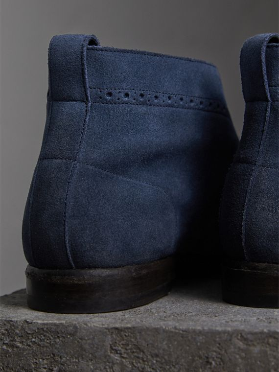 Brogue Detail Suede Desert Boots in Petrol Blue - Men | Burberry Singapore - cell image 2