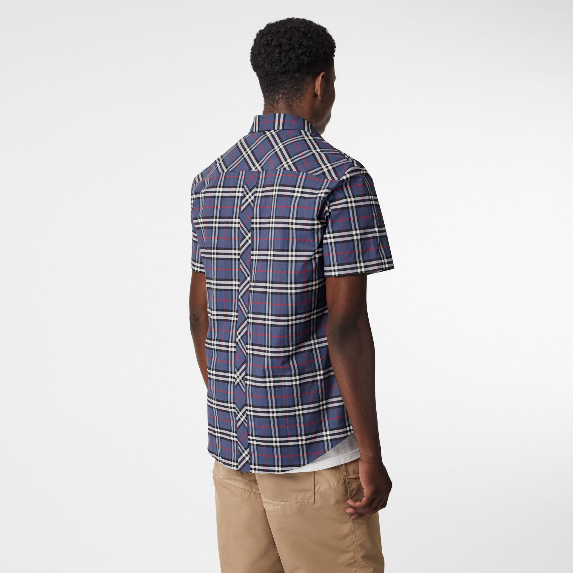 Short-sleeve Small Scale Check Stretch Cotton Shirt in Carbon Blue - Men | Burberry - gallery image 2