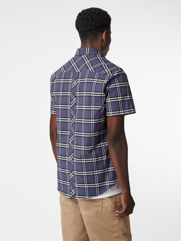 Short-sleeve Small Scale Check Stretch Cotton Shirt in Carbon Blue - Men | Burberry - cell image 2