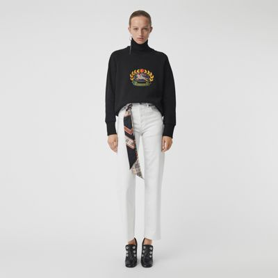 Embroidered Archive Logo Cotton Blend Sweatshirt by Burberry