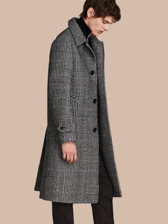 Prince of Wales Check Wool-blend Coat