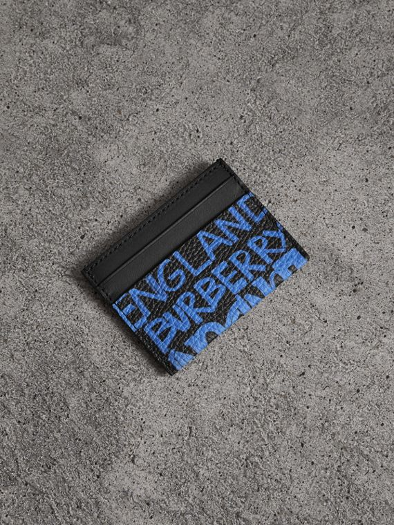 Graffiti Print Leather Card Case in Blue Black