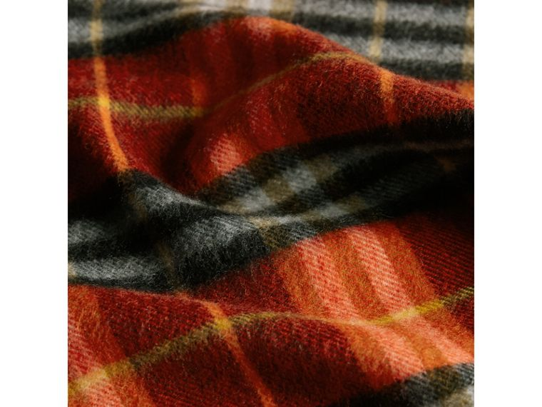 Check Cashmere Scarf in Orange Red | Burberry - cell image 4