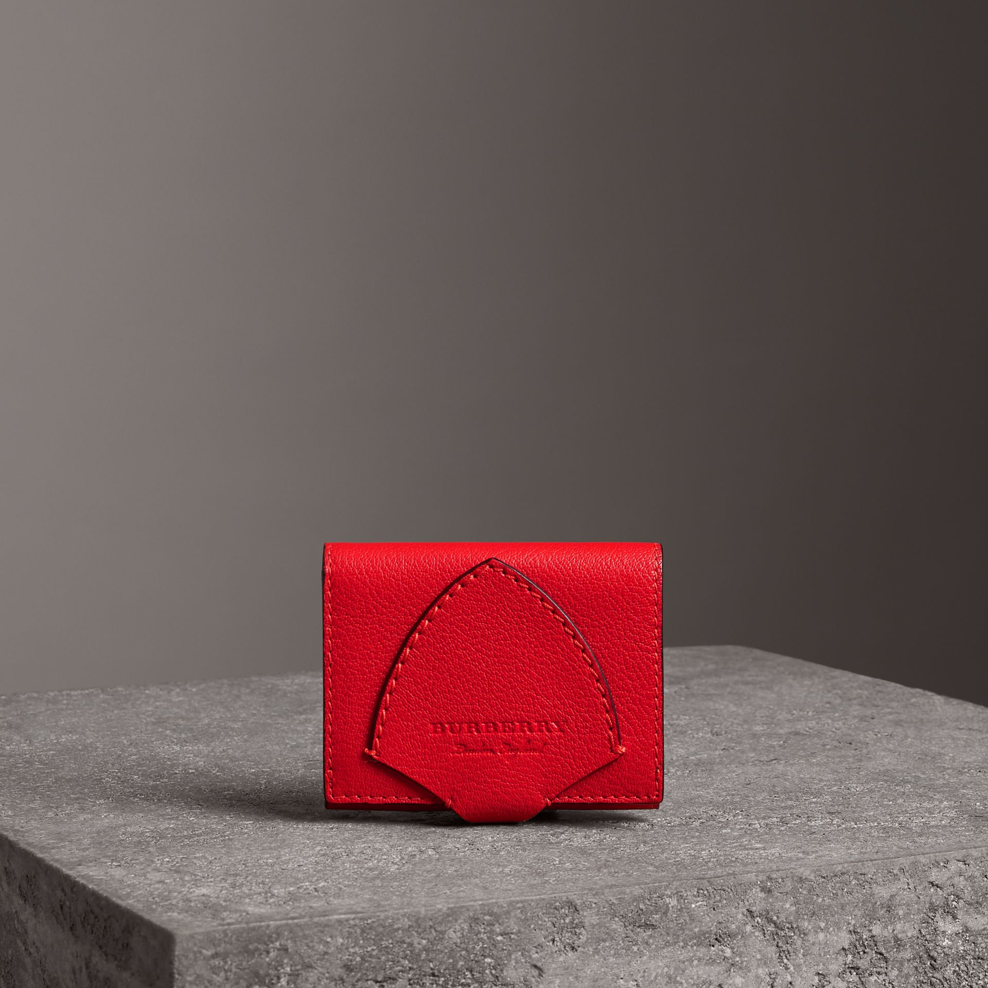 Equestrian Shield Two-tone Leather Folding Wallet in Bright Red - Women | Burberry United Kingdom - gallery image 0