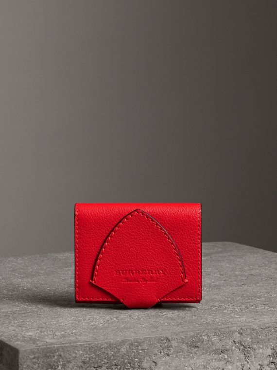Equestrian Shield Two-tone Leather Folding Wallet in Bright Red