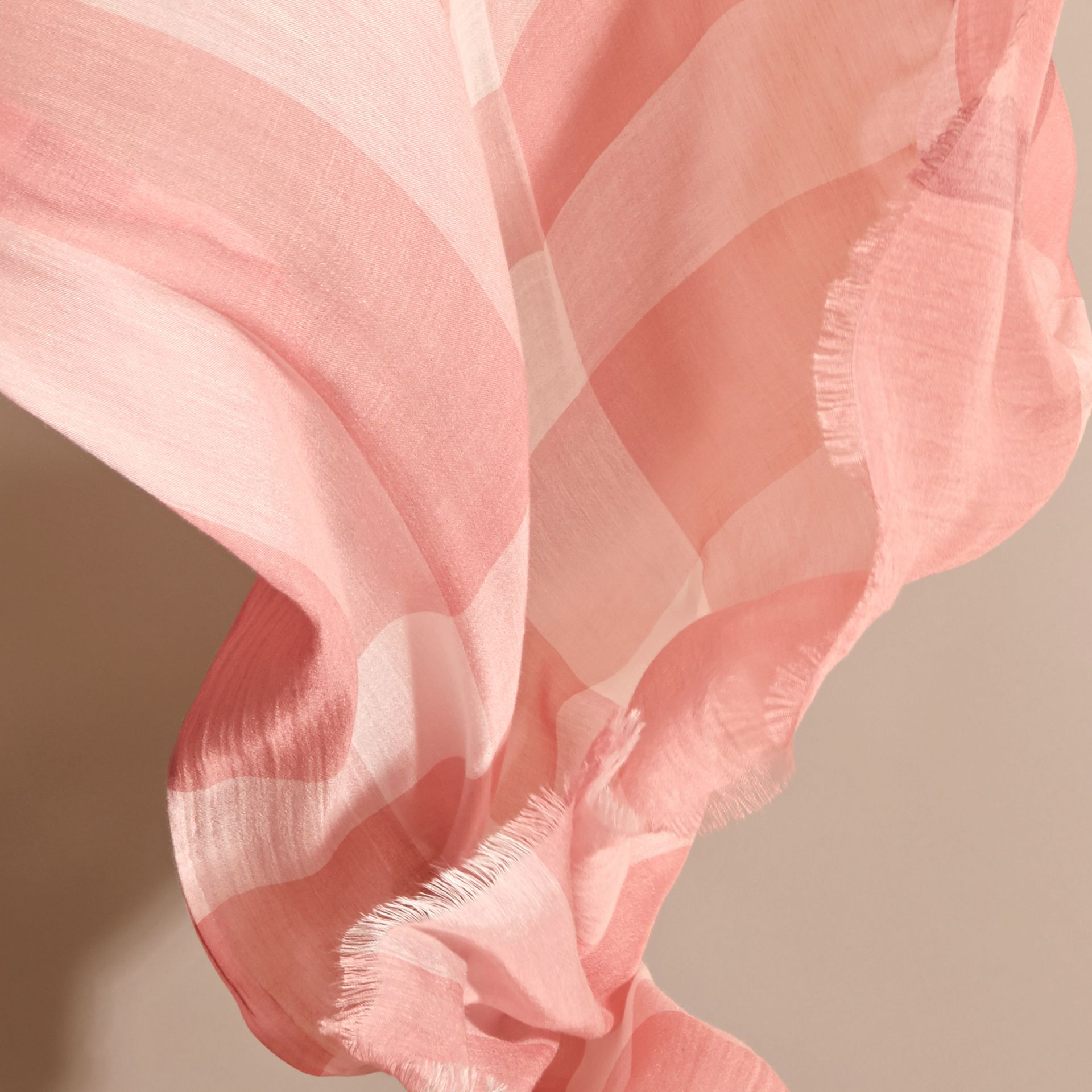 Check Modal Cashmere and Silk Scarf Antique Rose - gallery image 4