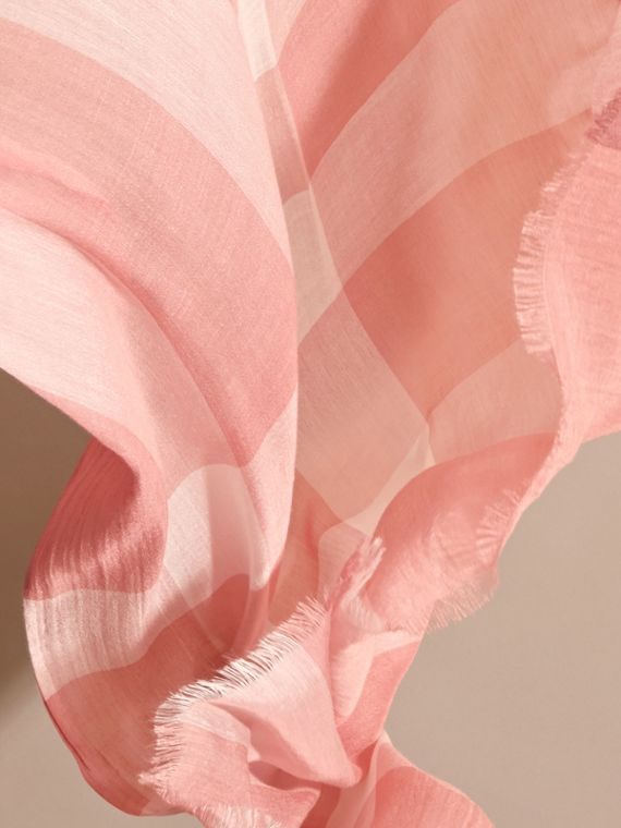 Check Modal Cashmere and Silk Scarf in Antique Rose - Women | Burberry - cell image 3