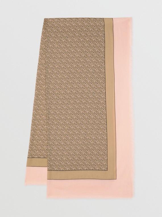 Monogram Print Lightweight Cashmere Scarf in Pink