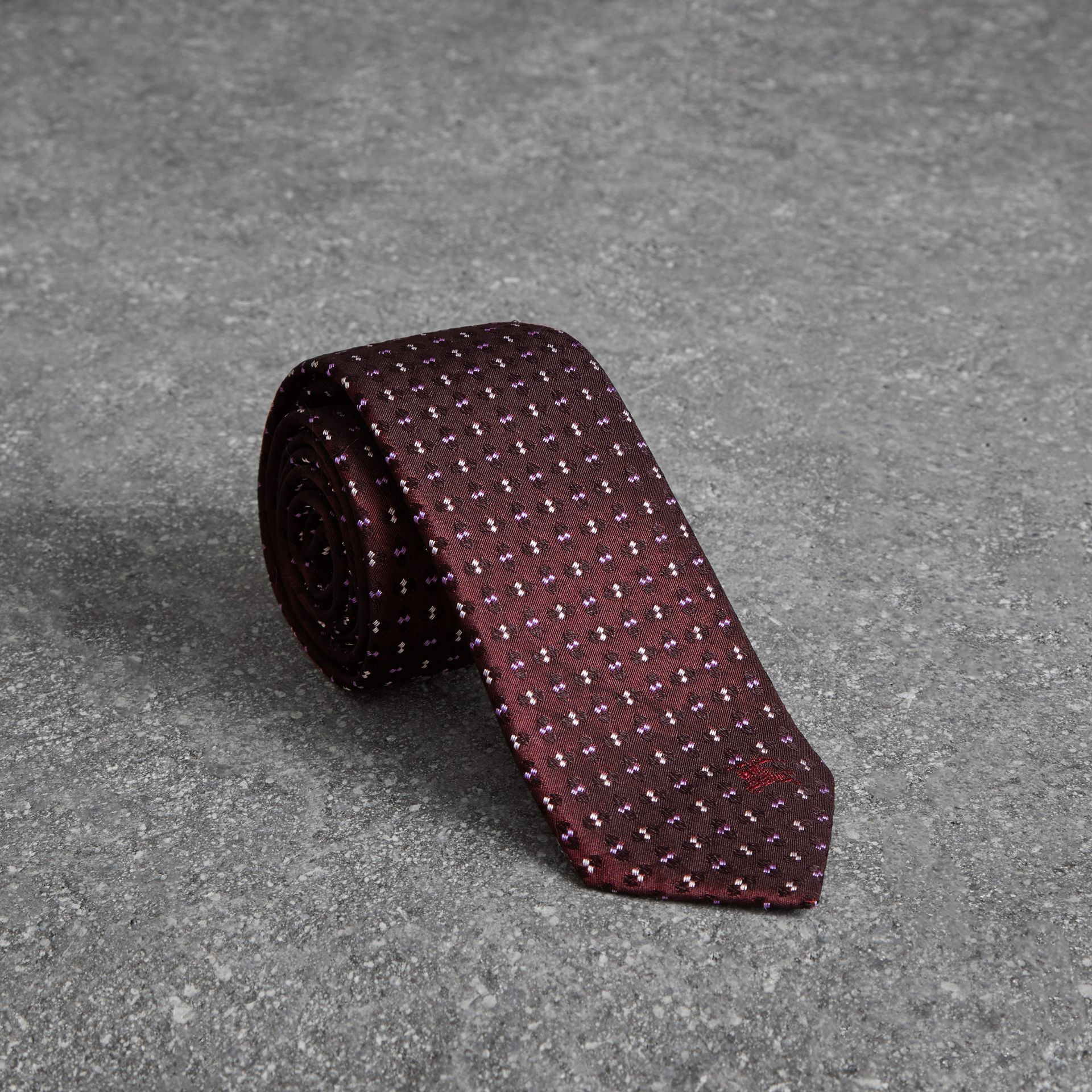 Slim Cut Geometric Silk Jacquard Tie in Deep Claret - Men | Burberry United Kingdom - gallery image 0