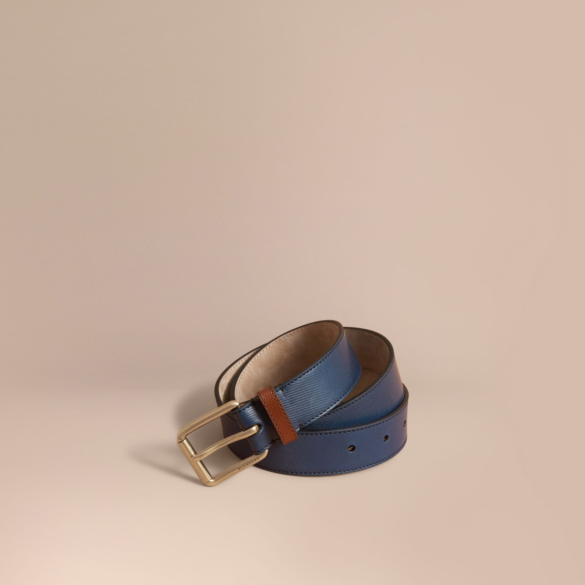 Two-tone Trench Leather Belt Dark Navy - gallery image 1