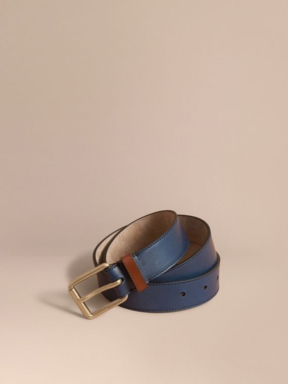 Two-tone Trench Leather Belt in Dark Navy - Men | Burberry