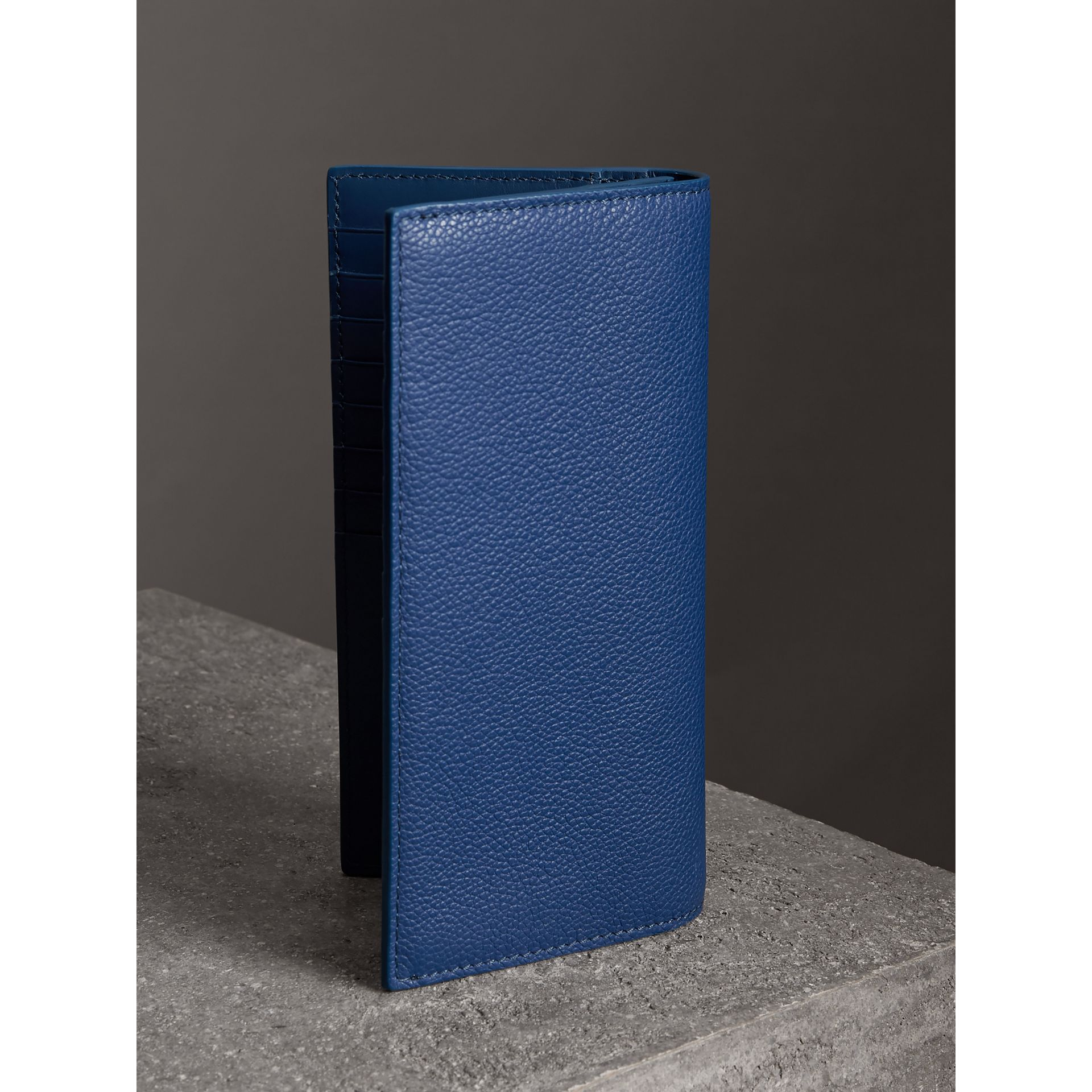 Grainy Leather Continental Wallet in Bright Ultramarine - Men | Burberry - gallery image 2