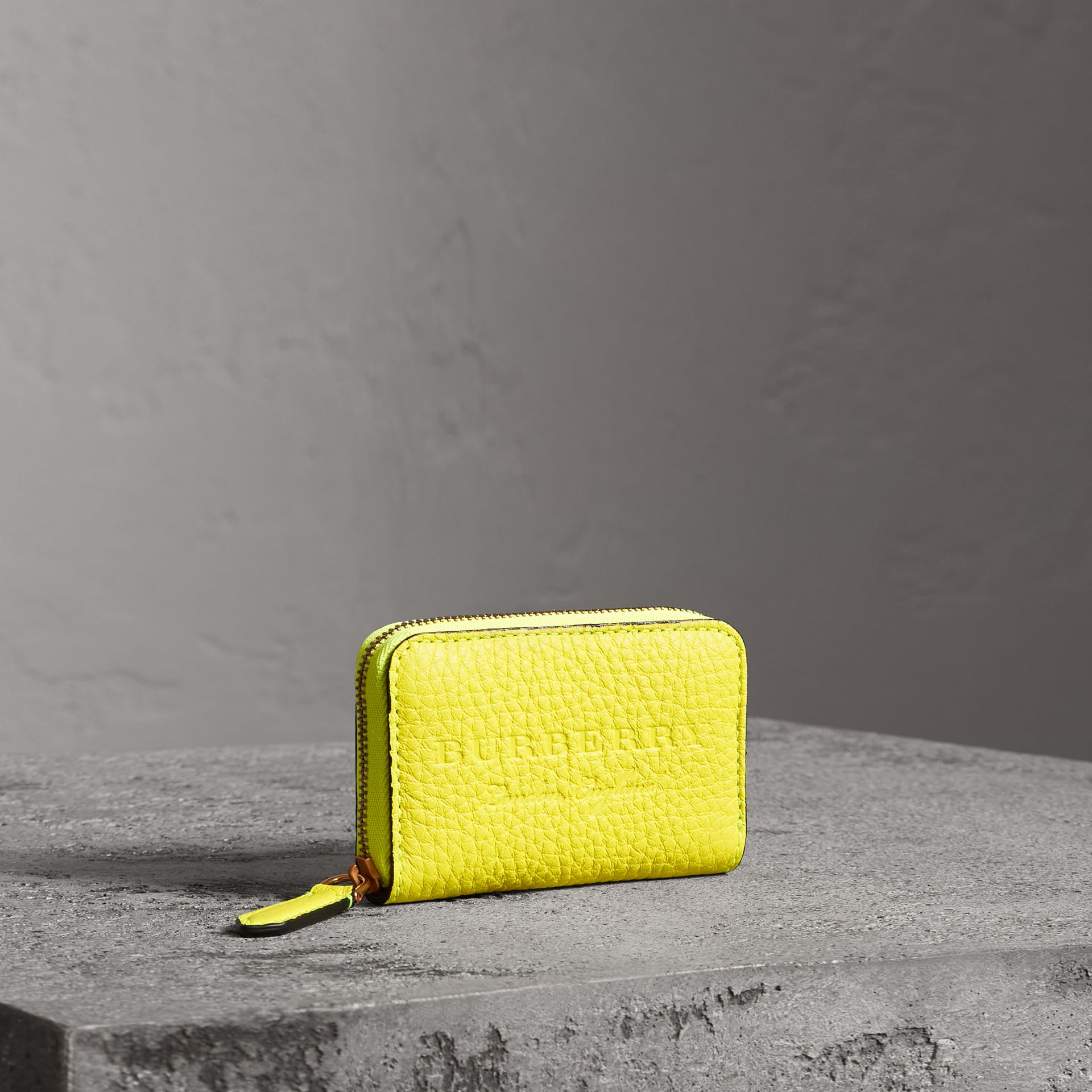 Embossed Leather Ziparound Coin Case in Neon Yellow - Men | Burberry United Kingdom - gallery image 0
