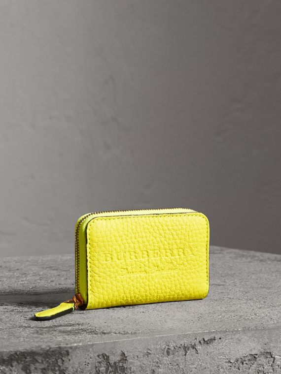Embossed Leather Ziparound Coin Case in Neon Yellow