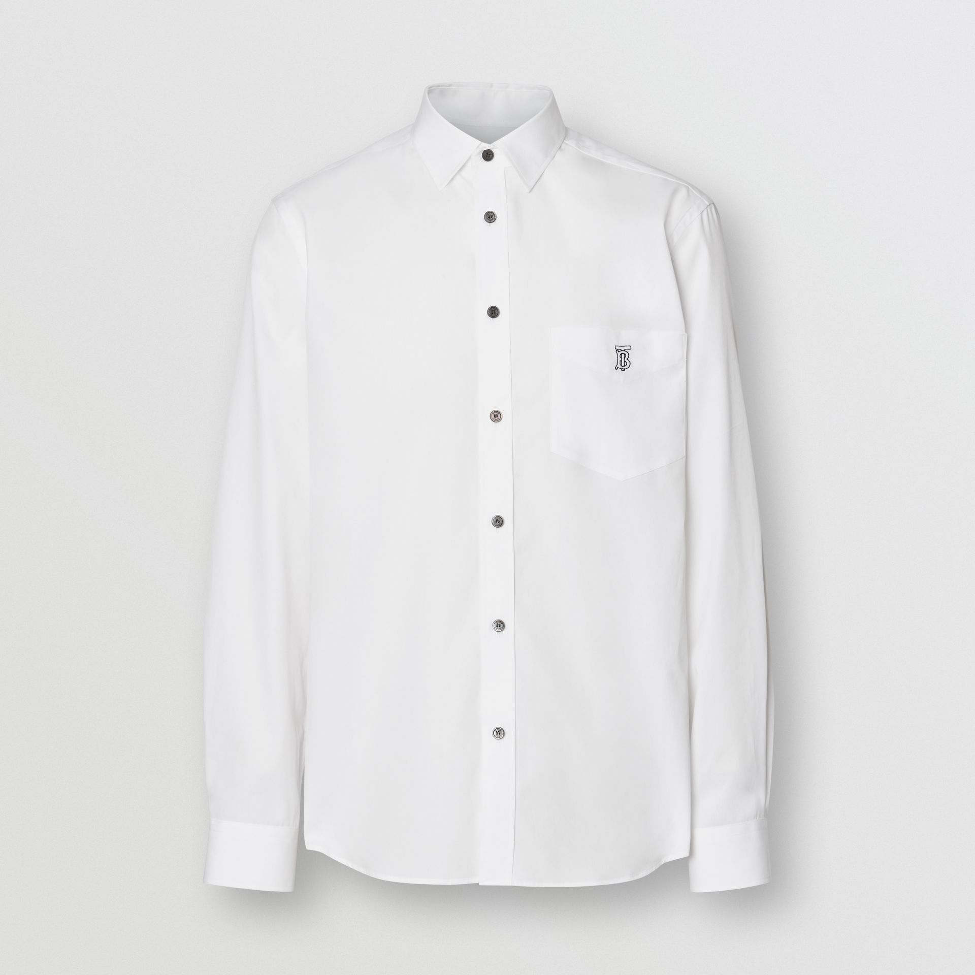 Monogram Motif Stretch Cotton Poplin Shirt in White - Men | Burberry United States - gallery image 3
