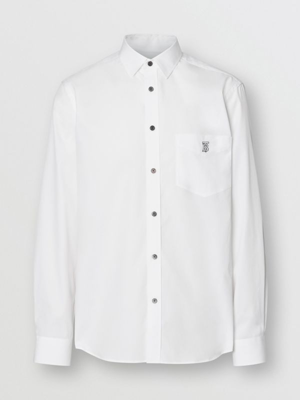 Monogram Motif Stretch Cotton Poplin Shirt in White - Men | Burberry United Kingdom - cell image 3
