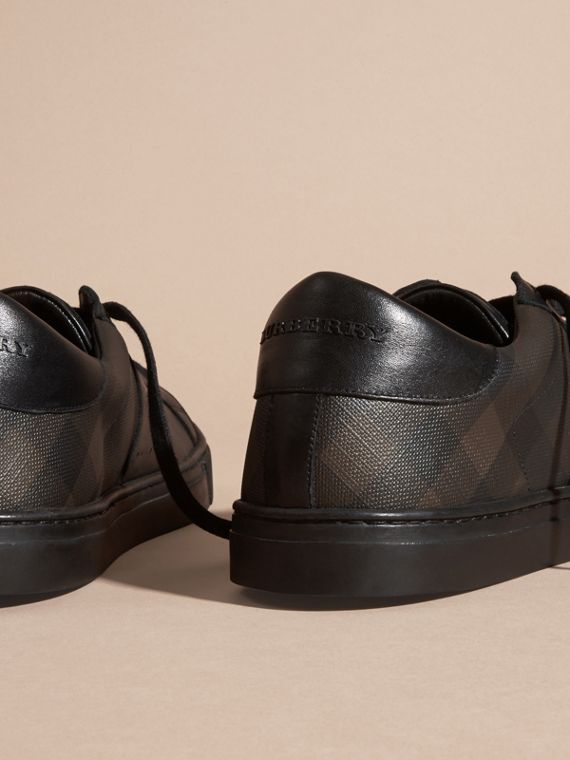 Check Detail Leather Trainers in Smoked Chocolate Chk - Men | Burberry Canada - cell image 3