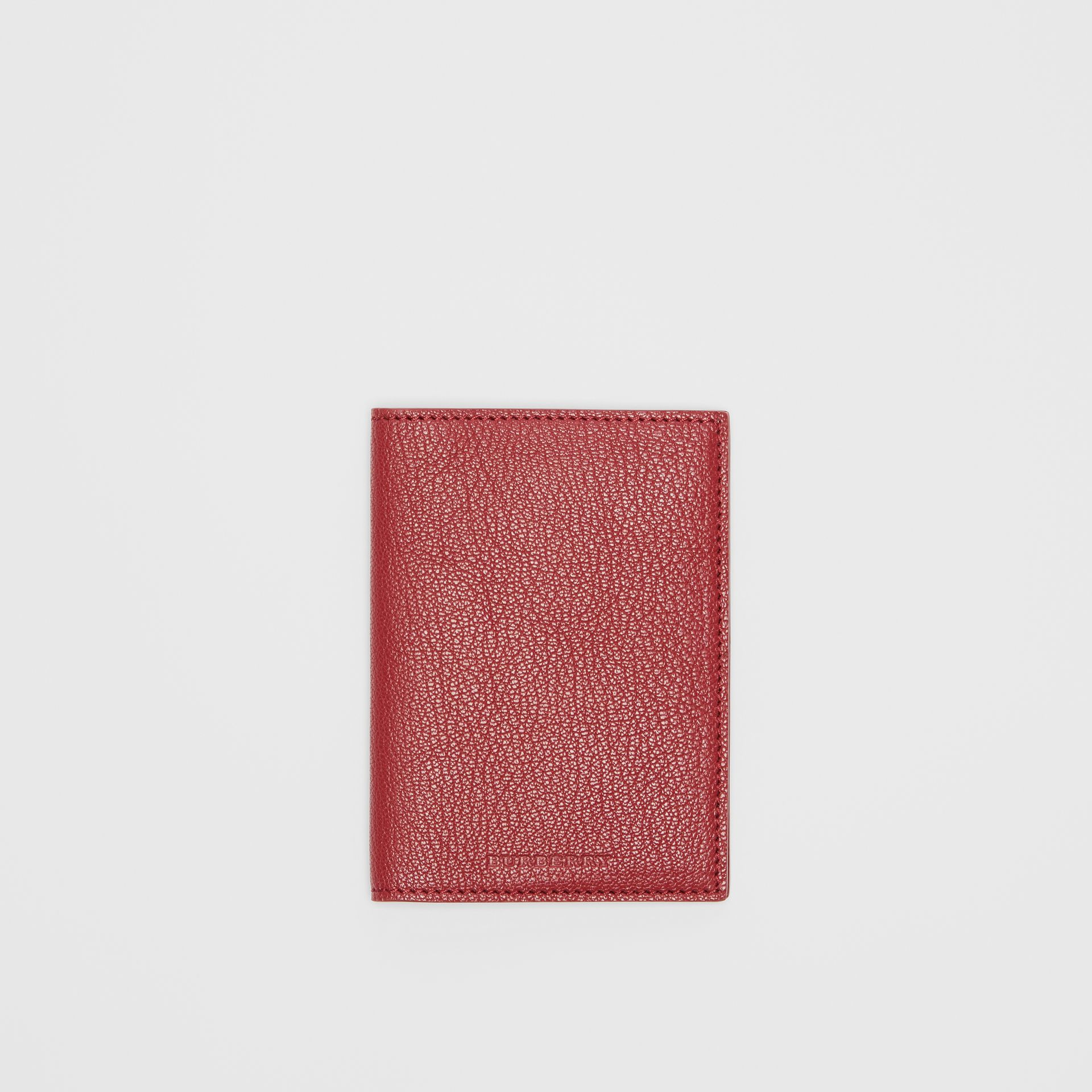 Leather Passport Holder in Crimson | Burberry - gallery image 0