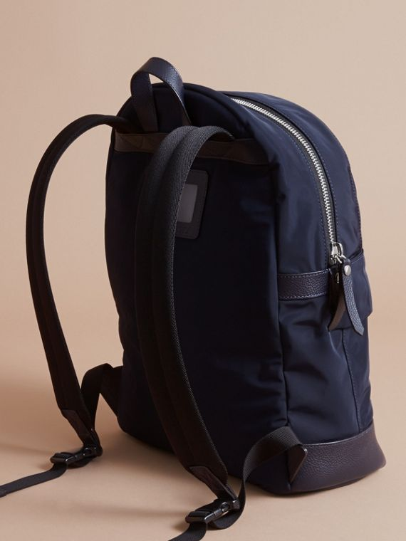 Leather Trim Lightweight Backpack in Ink | Burberry Canada - cell image 2