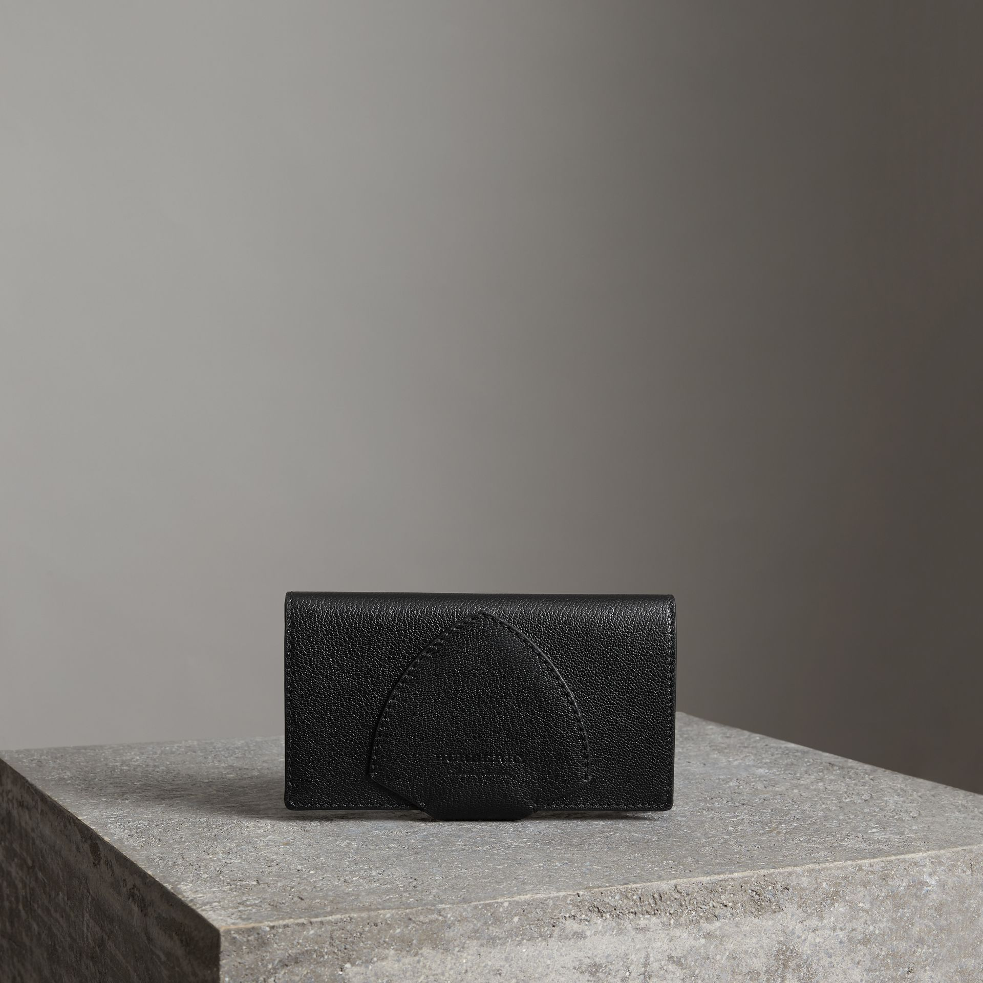 Equestrian Shield Two-tone Leather Continental Wallet in Black - Women | Burberry Australia - gallery image 0