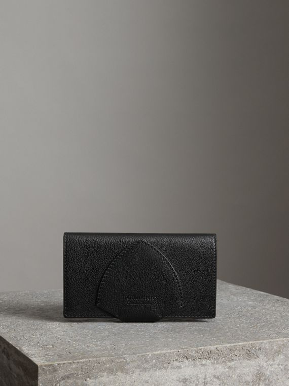 Equestrian Shield Two-tone Leather Continental Wallet in Black