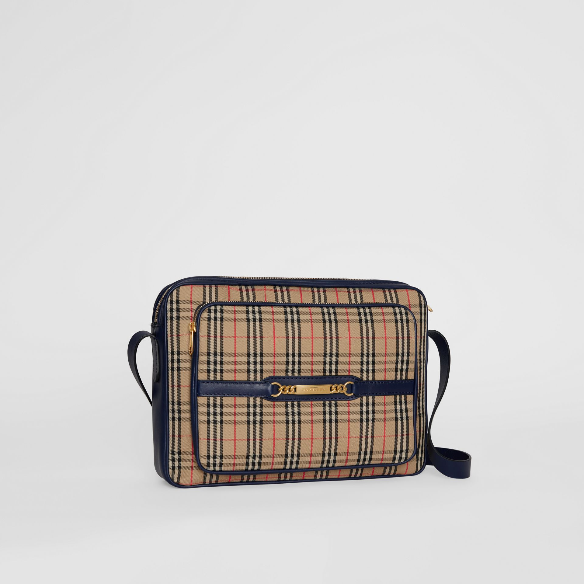 The Large 1983 Check Link Camera Bag in Ink Blue - Men | Burberry United States - gallery image 4