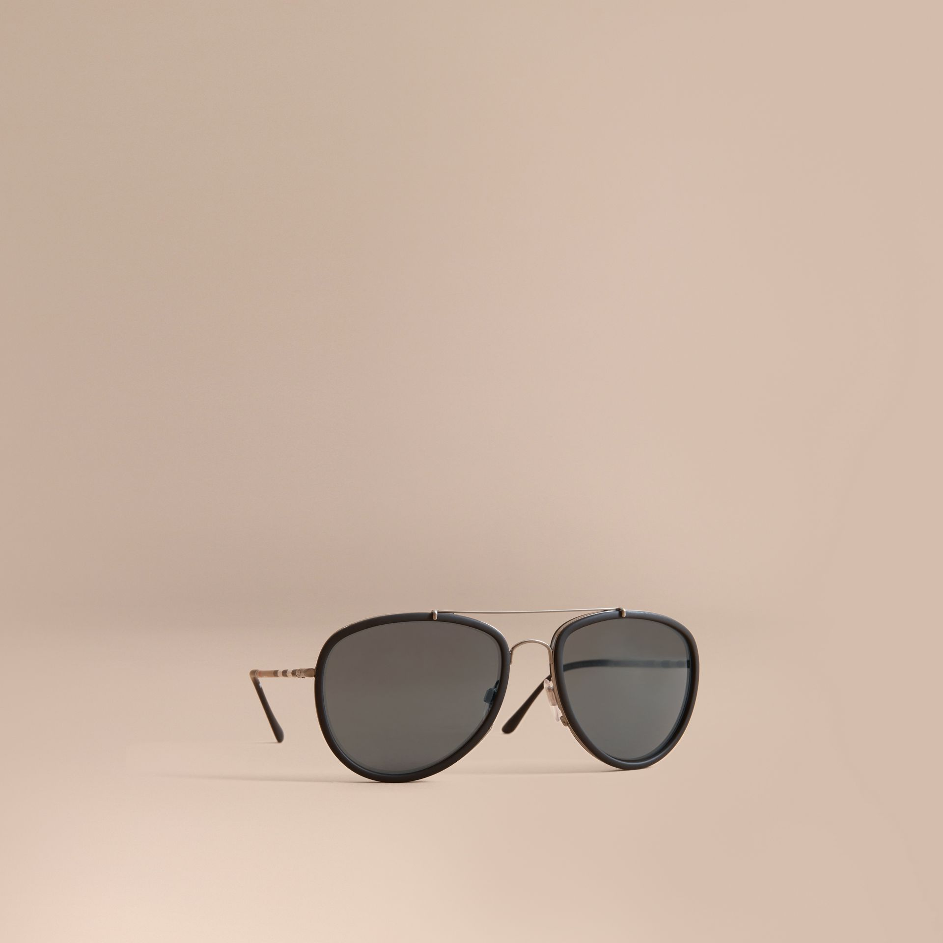 Check Detail Pilot Sunglasses in Blue - Men | Burberry - gallery image 0