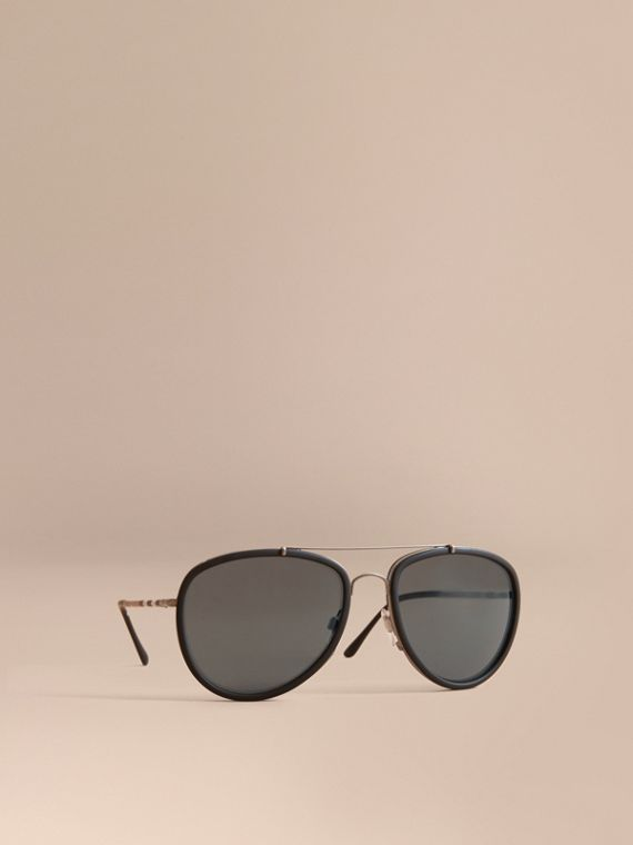 Check Detail Pilot Sunglasses in Blue - Men | Burberry Singapore