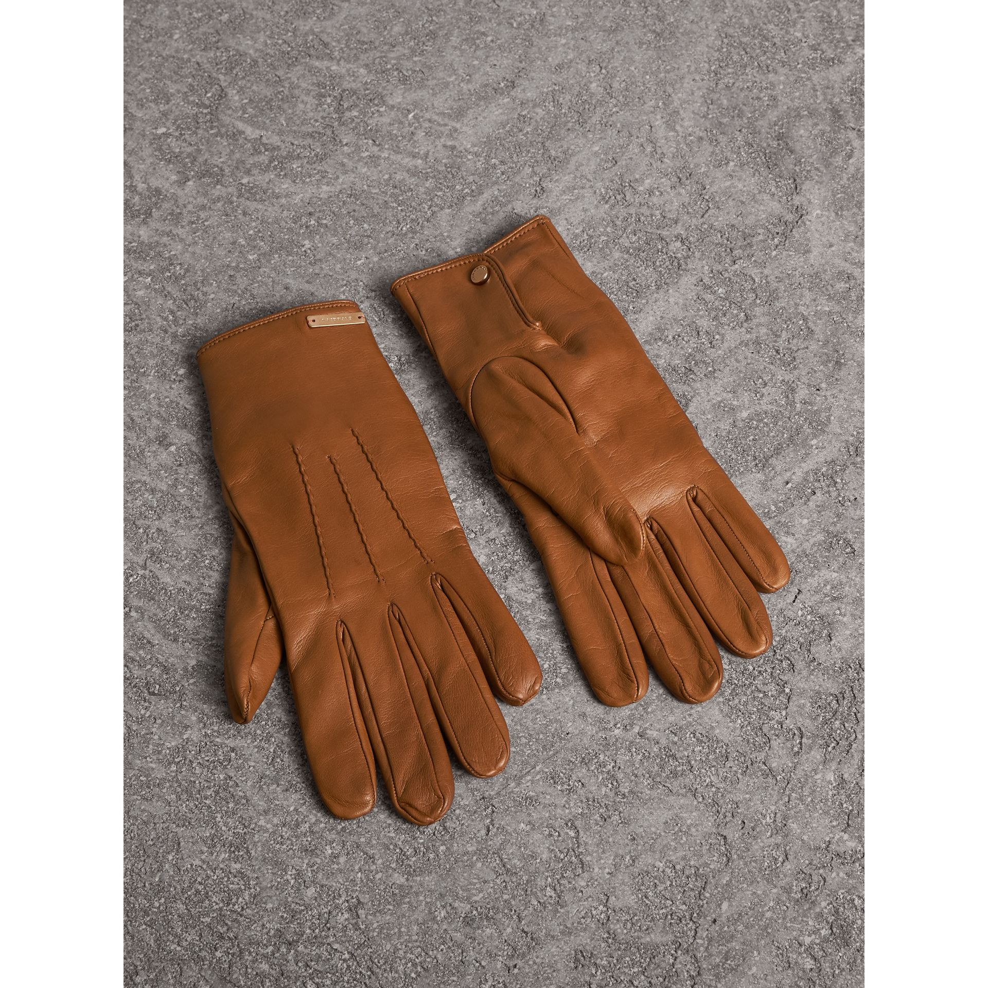 Cashmere Lined Lambskin Gloves in Malt Brown - Men | Burberry - gallery image 1