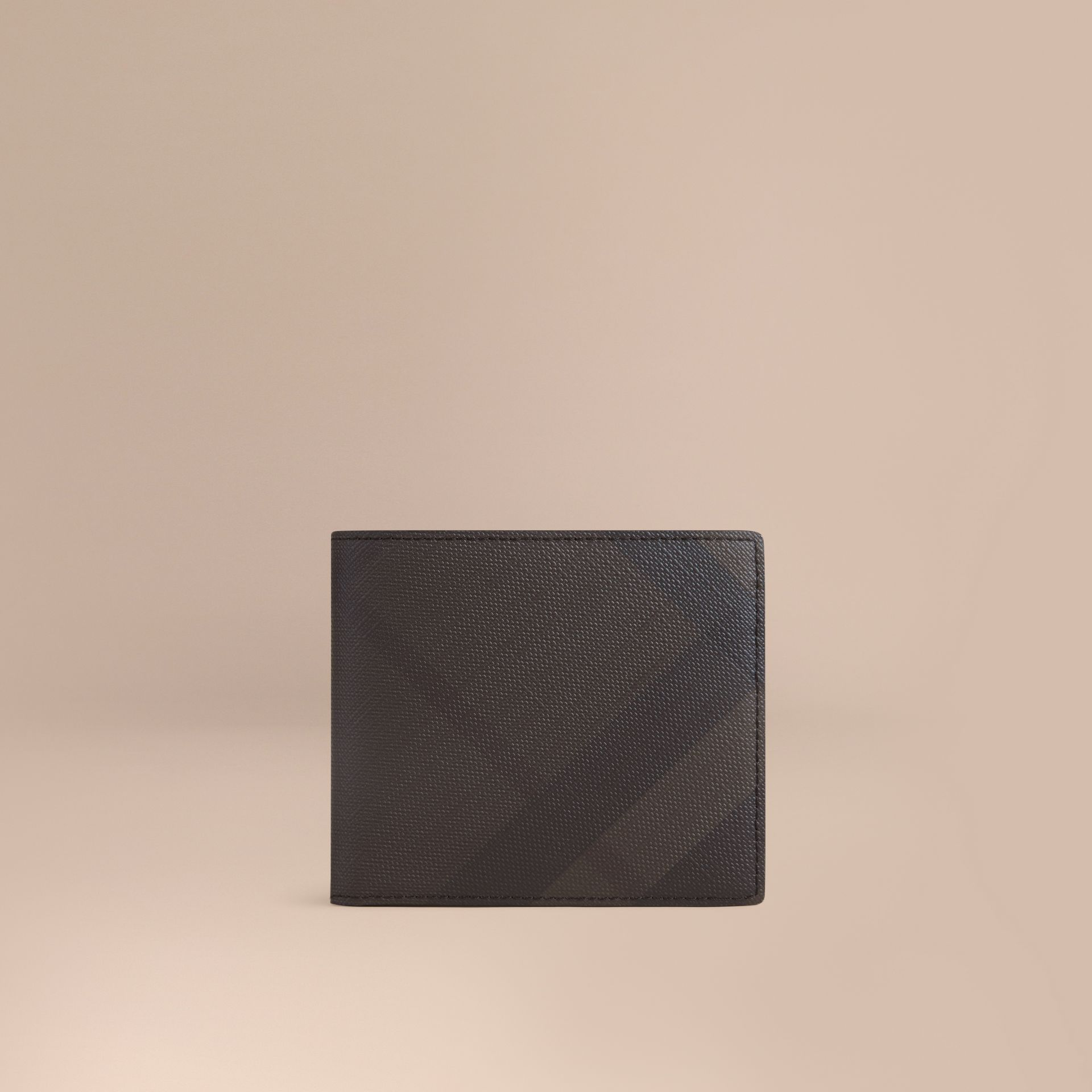 London Check International Bifold Coin Wallet in Chocolate/black - Men | Burberry - gallery image 0