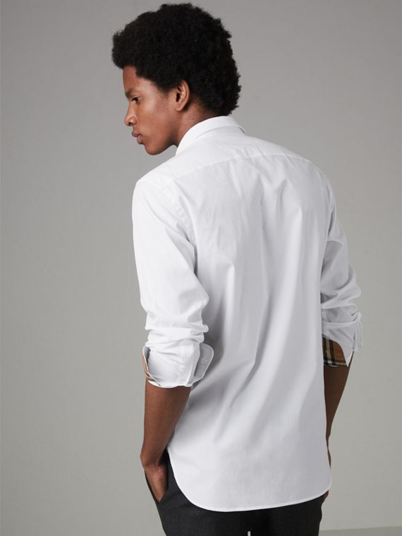 Check Cuff Stretch Cotton Poplin Shirt in White - Men | Burberry - cell image 2