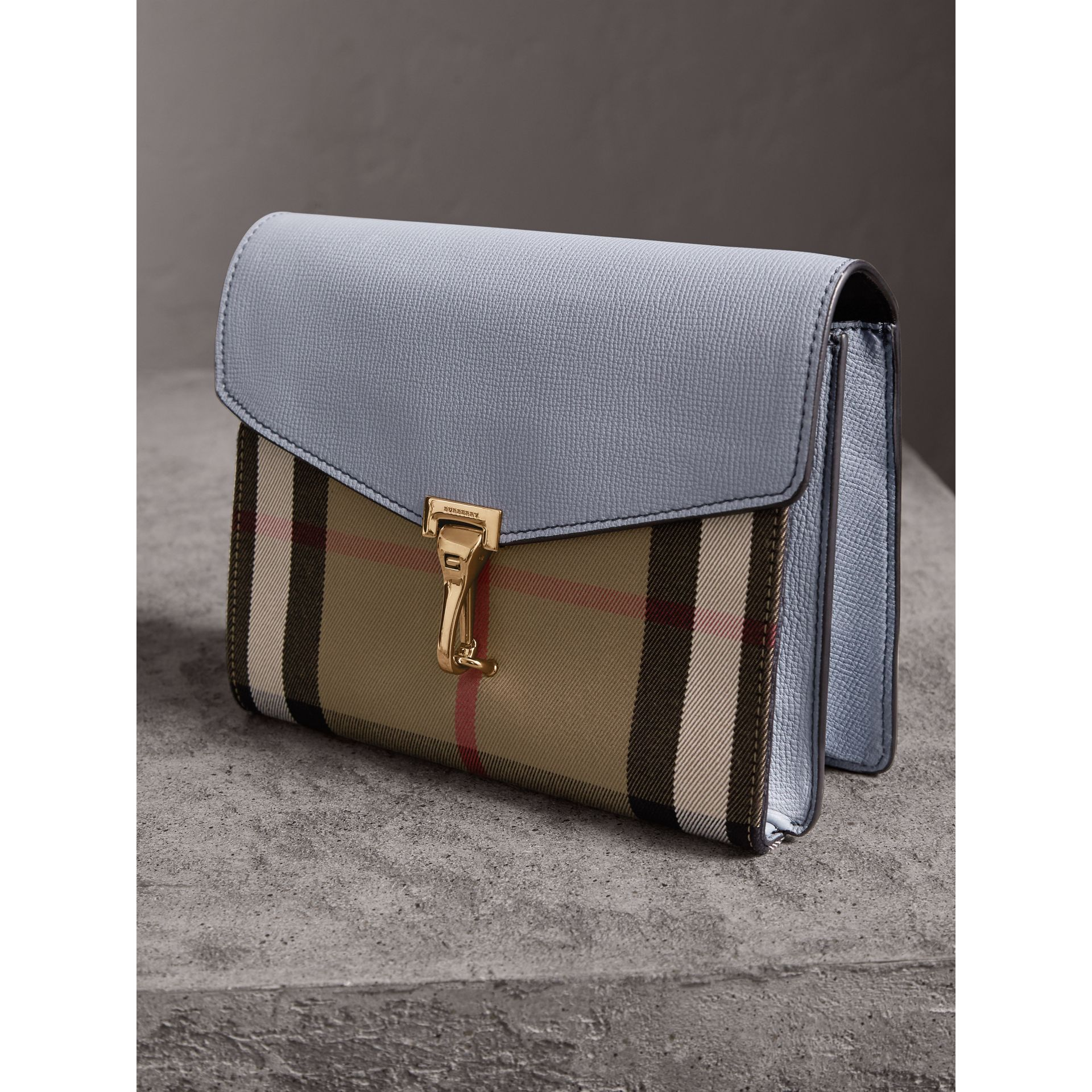 Small Leather and House Check Crossbody Bag in Slate Blue - Women | Burberry - gallery image 7
