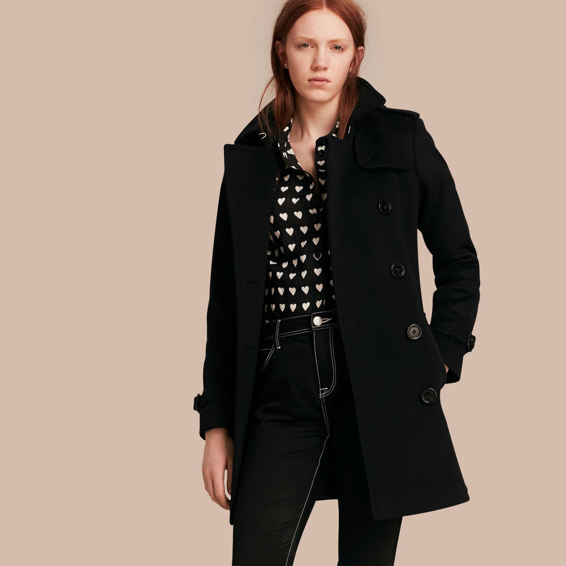 Wool Cashmere Trench Coat in Black - Women | Burberry - gallery image 1