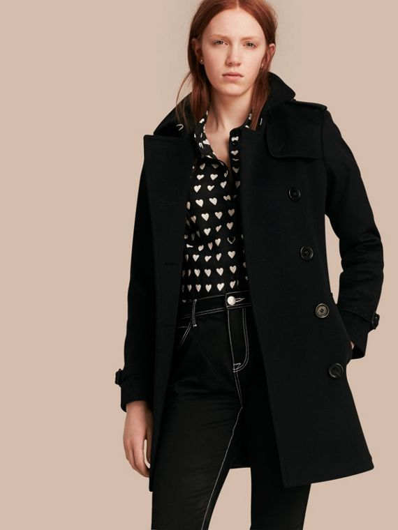 Wool Cashmere Trench Coat in Black - Women | Burberry Singapore