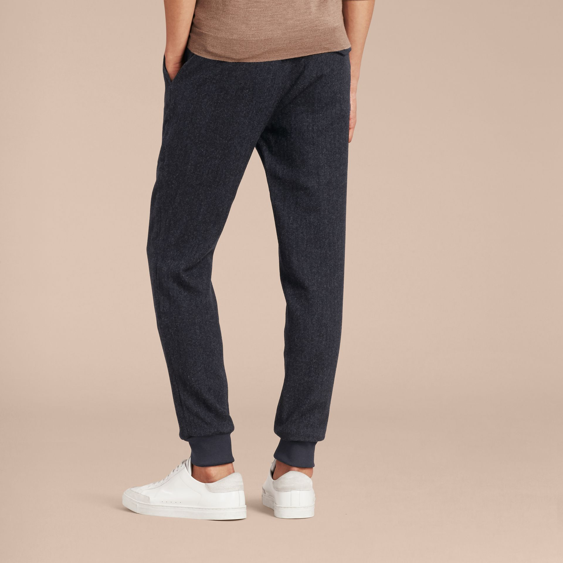 Navy Tailored Herringbone Wool Track Pants - gallery image 3
