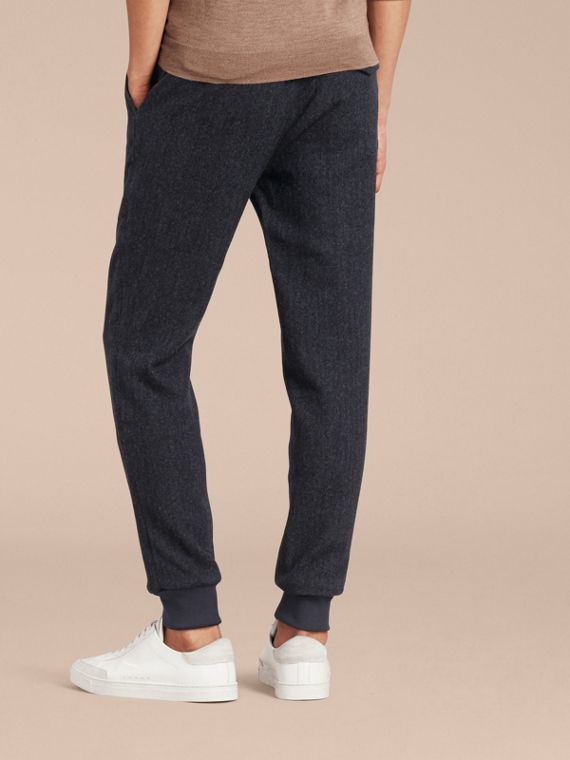 Navy Tailored Herringbone Wool Track Pants - cell image 2
