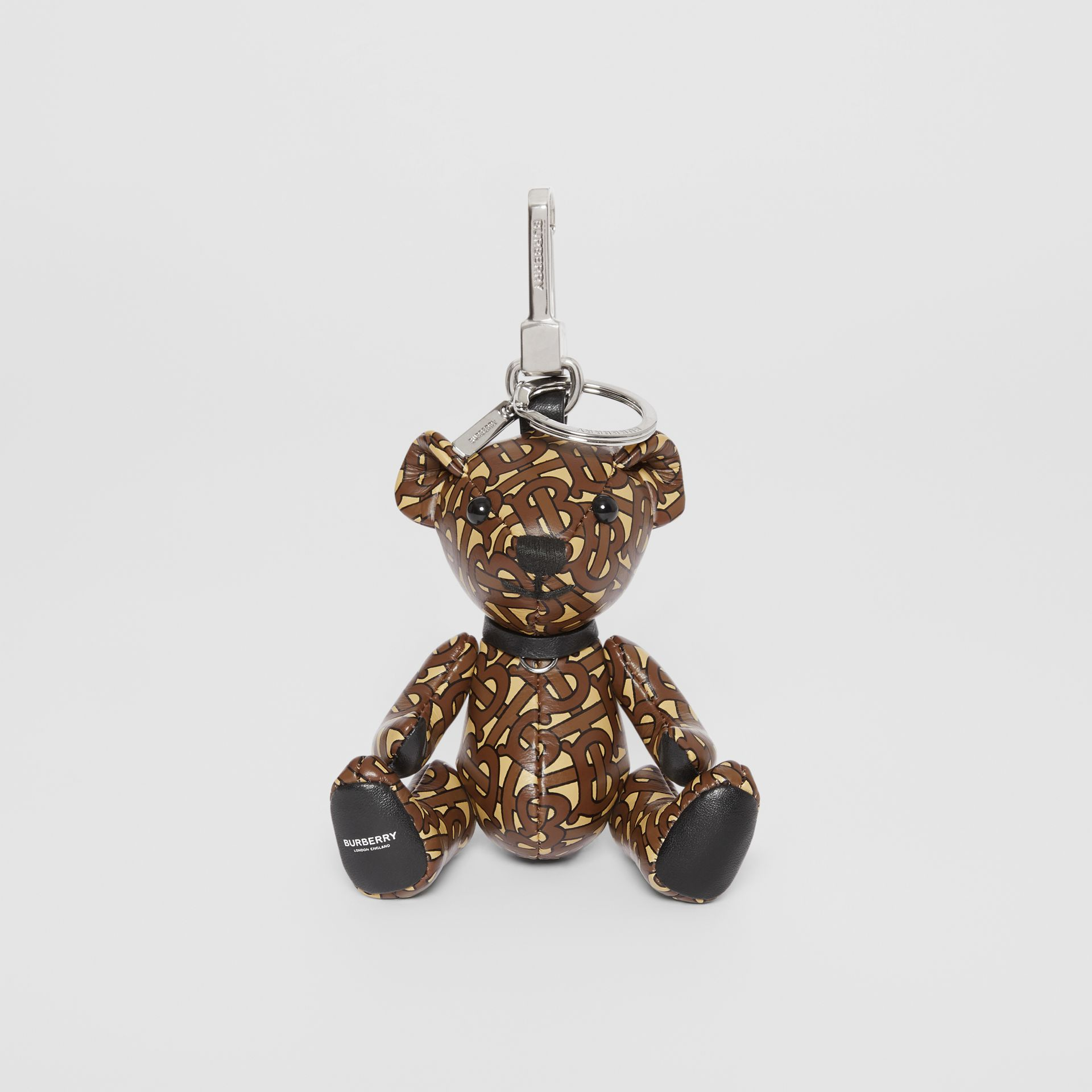 Thomas Bear Charm in Monogram Print Leather in Bridle Brown | Burberry Singapore - gallery image 2