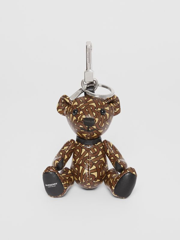 Thomas Bear Charm in Monogram Print Leather in Bridle Brown | Burberry Australia - cell image 2